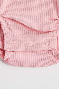 Rib Henley Bodysuit (Long Sleeve - Dusty Rose) Bodysuit Purebaby