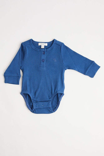 Rib Henley Bodysuit (Long Sleeve - Waterfall) Bodysuit Purebaby