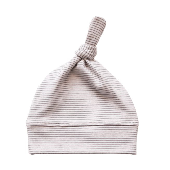 Romsey Organic Knot Hat (Elderberry Stripe) Beanie Pappe Small