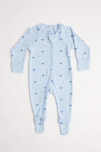 Zip Growsuit (000 - Pale Blue Leaf) Growsuit Purebaby