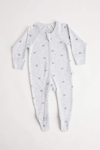 Zip Growsuit (000 - Pale Grey Leaf) Growsuit Purebaby