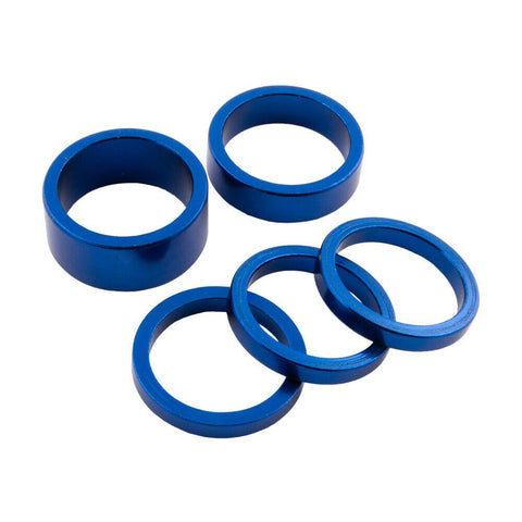 5x Alu Spacer Set Blau 1 1/8 für Steuersatz BMX MTB Touring Race - Bikers Base