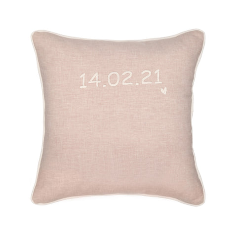 BLUSH PERSONALISED CUSHION WITH EMBROIDERED DATE