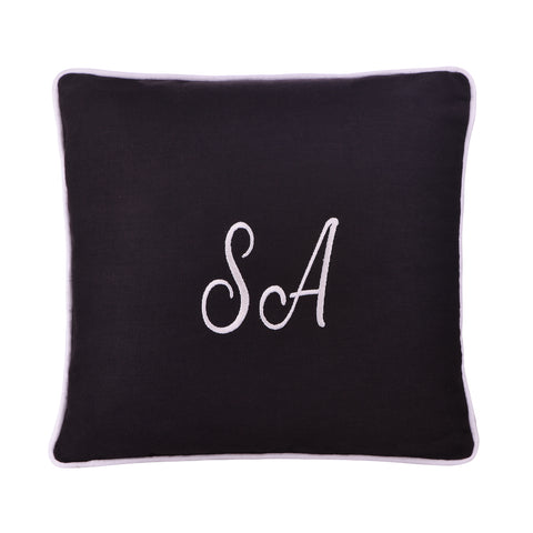 CHARCOAL PERSONALIZED CUSHION WITH EMBROIDERY