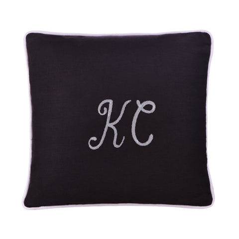 CHARCOAL PERSONALIZED CUSHION WITH SEQUINS