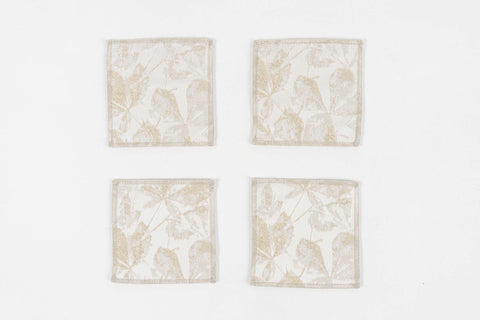 "FALL LEAVES BEIGE COASTERS 4.5"" X 4.5"" - Set of 4 & 6"