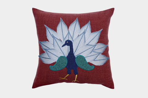 DANCING PEACOCK CUSHION