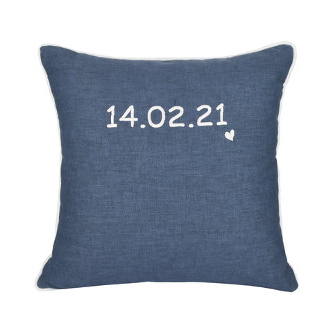 DENIM PERSONALISED CUSHION WITH EMBROIDERED DATE