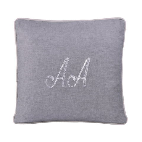 GREY PERSONALIZED CUSHION WITH SEQUINS
