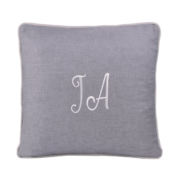 GREY PERSONALIZED CUSHION WITH EMBROIDERY