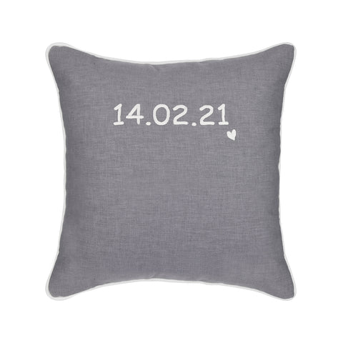 GREY PERSONALISED CUSHION WITH EMBROIDERED DATE