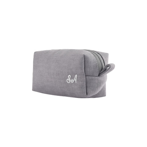 GREY PERSONALISED POUCH WITH EMBROIDERY