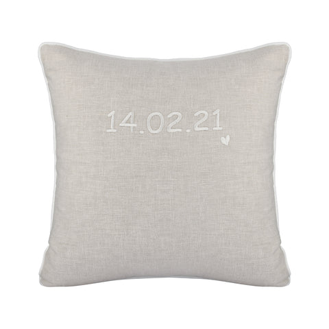 IVORY PERSONALISED CUSHION WITH EMBROIDERED DATE