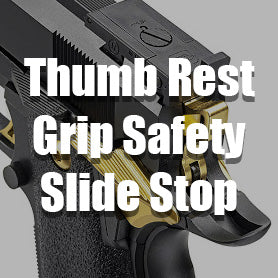 Airsoft GBB Pistol Thumb Rest, Grip Safety, and Slide Stop