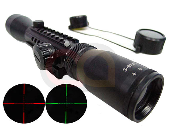 3-9x40 40mm Red/Green Illuminated Tri-rail Rifle Scope