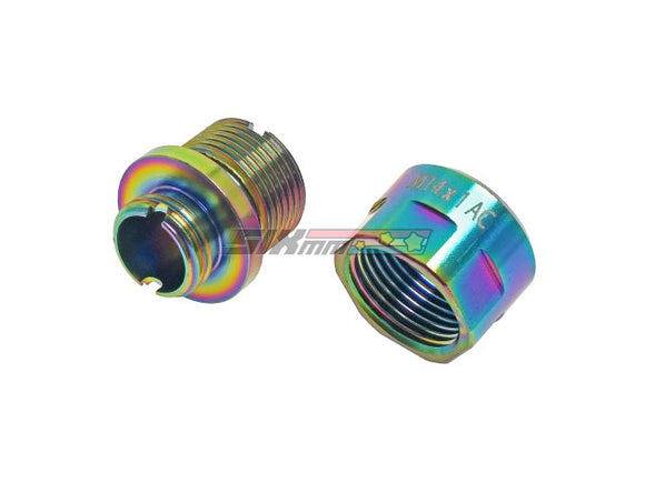 [COWCOW Technology] A01 Stainless Steel Silencer Adapter[11mm CW to 14mm CCW][Rainbow]