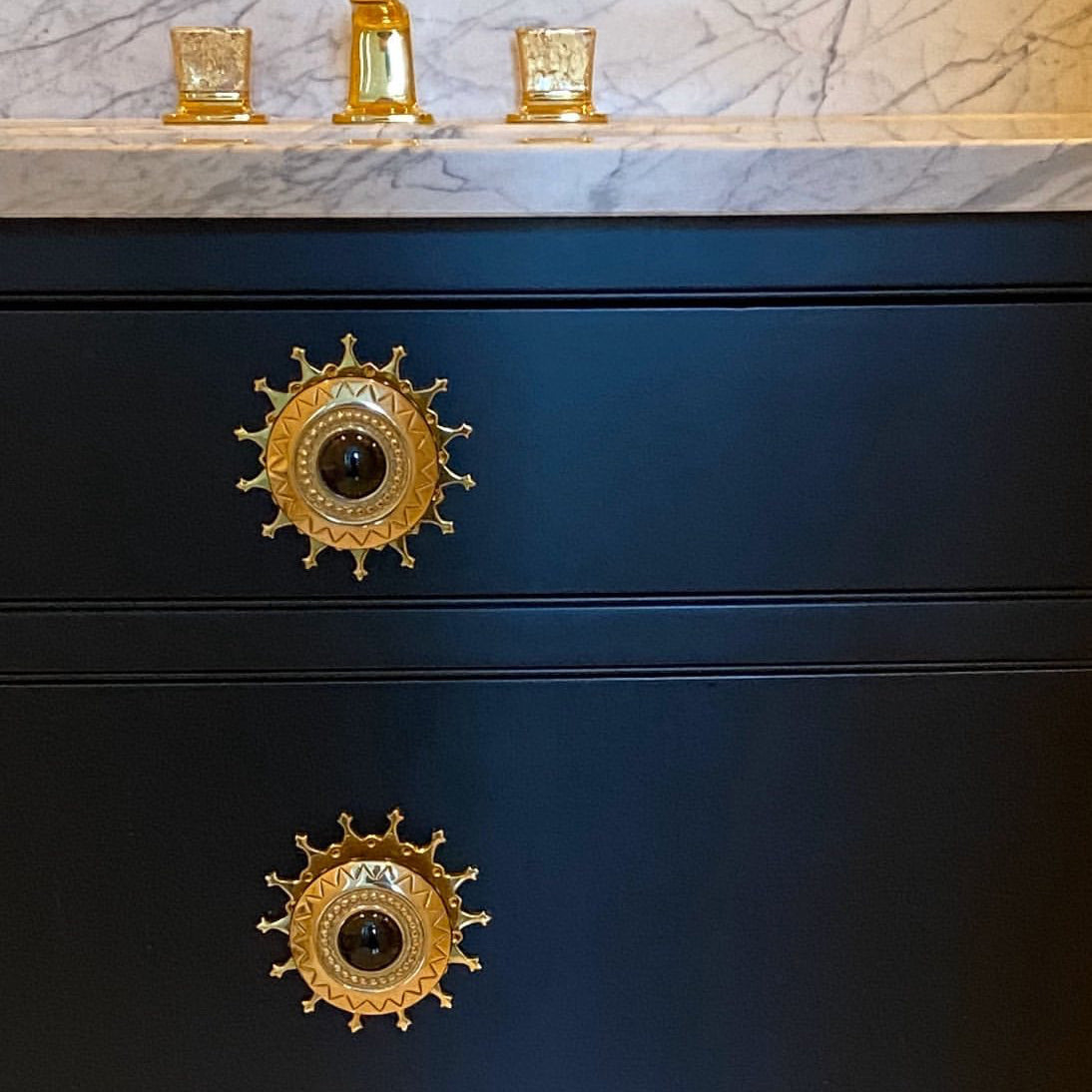 Vanity with Las Damas Backplate in Brass and Large Aztec Knob in Brass and Black