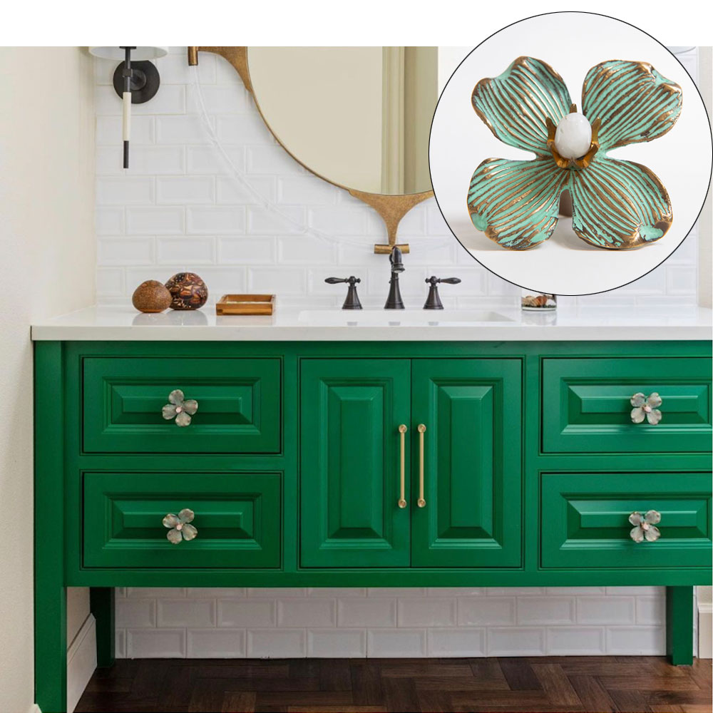 Green Vanity with Dogwood Knobs in Patina Finish with Moonstone