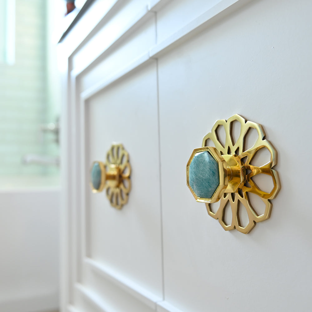 Cabinet with Neale Backplate in Brass and Harrison Small Knob in Brass and Amazonite