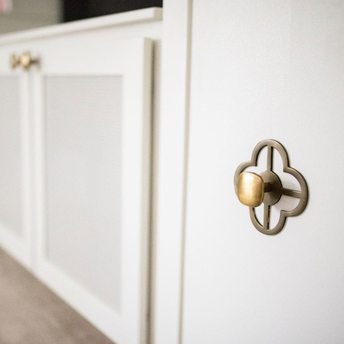 Cabinets with Jones Backplate in Antique Brass and Benson Knob in Antique Brass