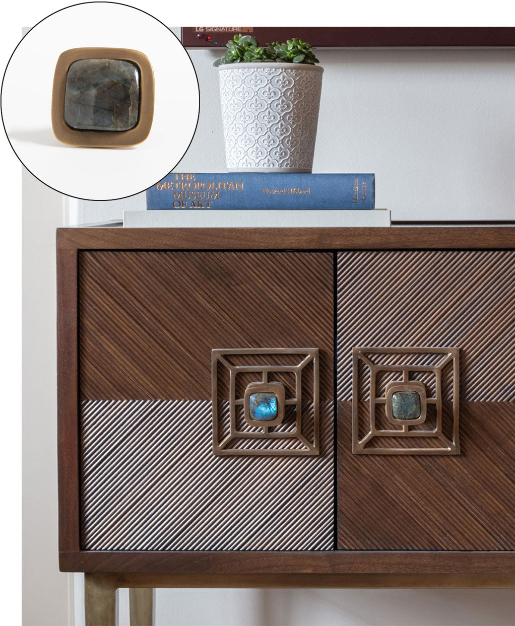 Cabinet with Benson Backplate in Antique Brass & Benson Knobs with Labradorite