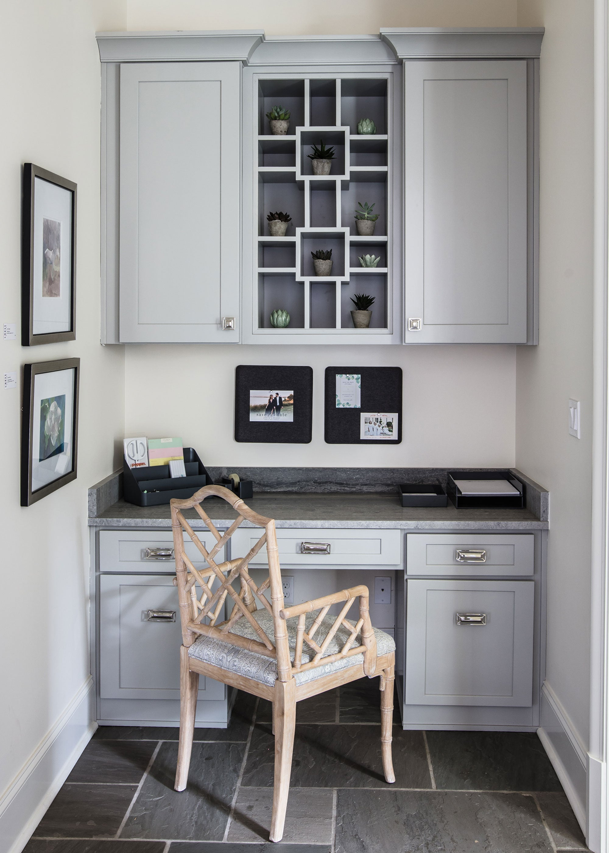 Home Office Design with Mccoy Rectangle Pull & Evans Square Knob in Brass