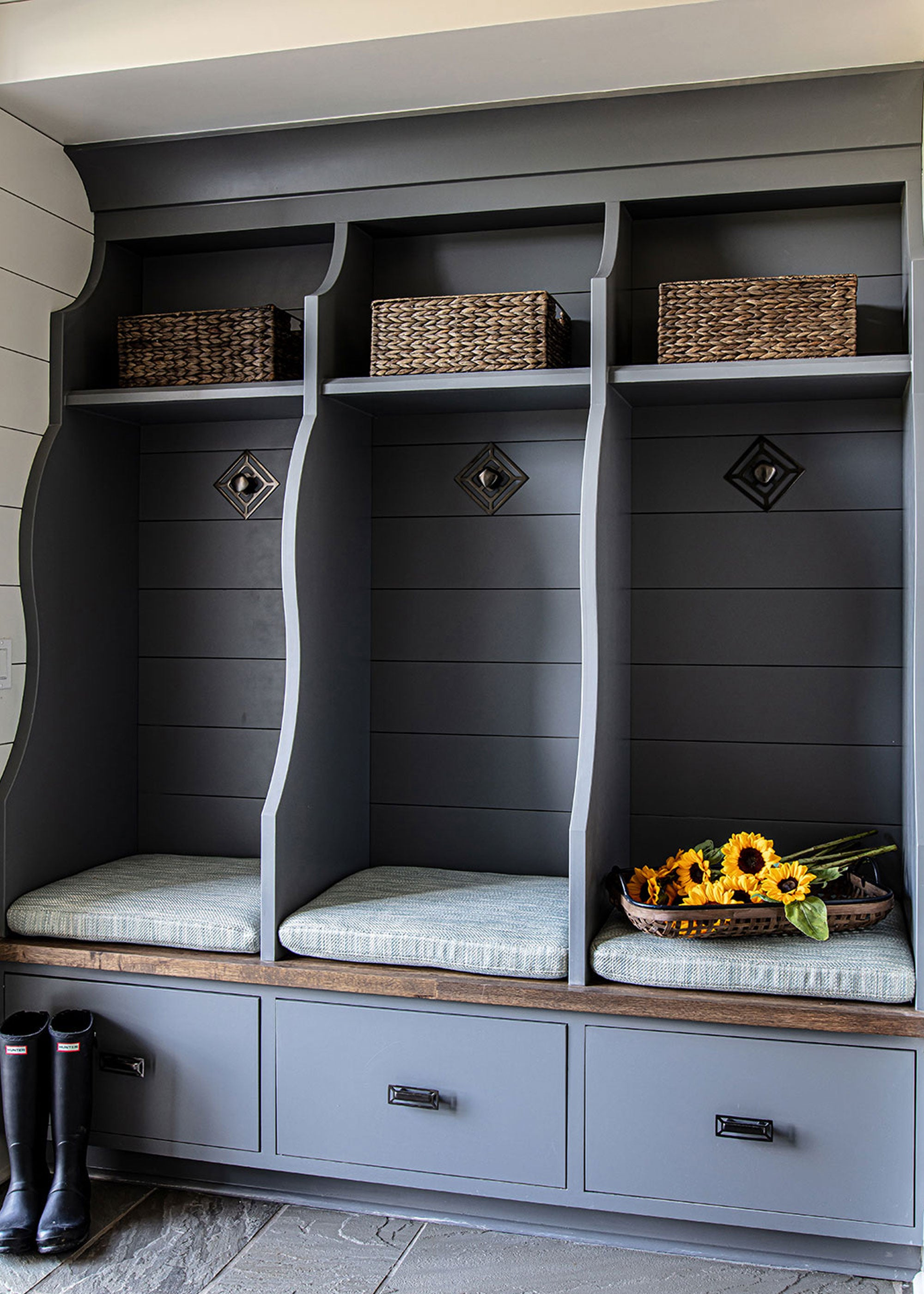 Mudroom Design with Benson Backplate & Mccoy Rectangle Pull in Brass