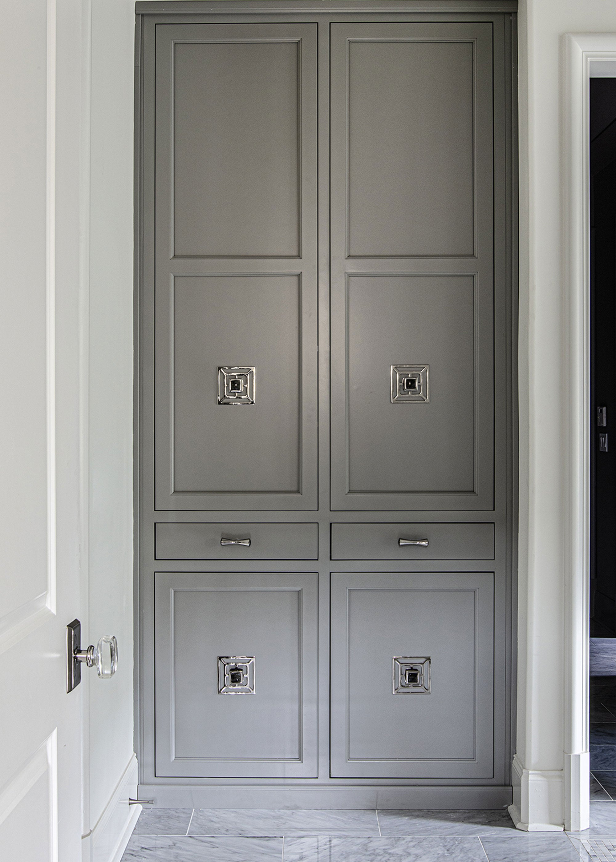 Kitchen Pantry Design with Benson Backplate and Tomlin Pull in Labrodite & Brass