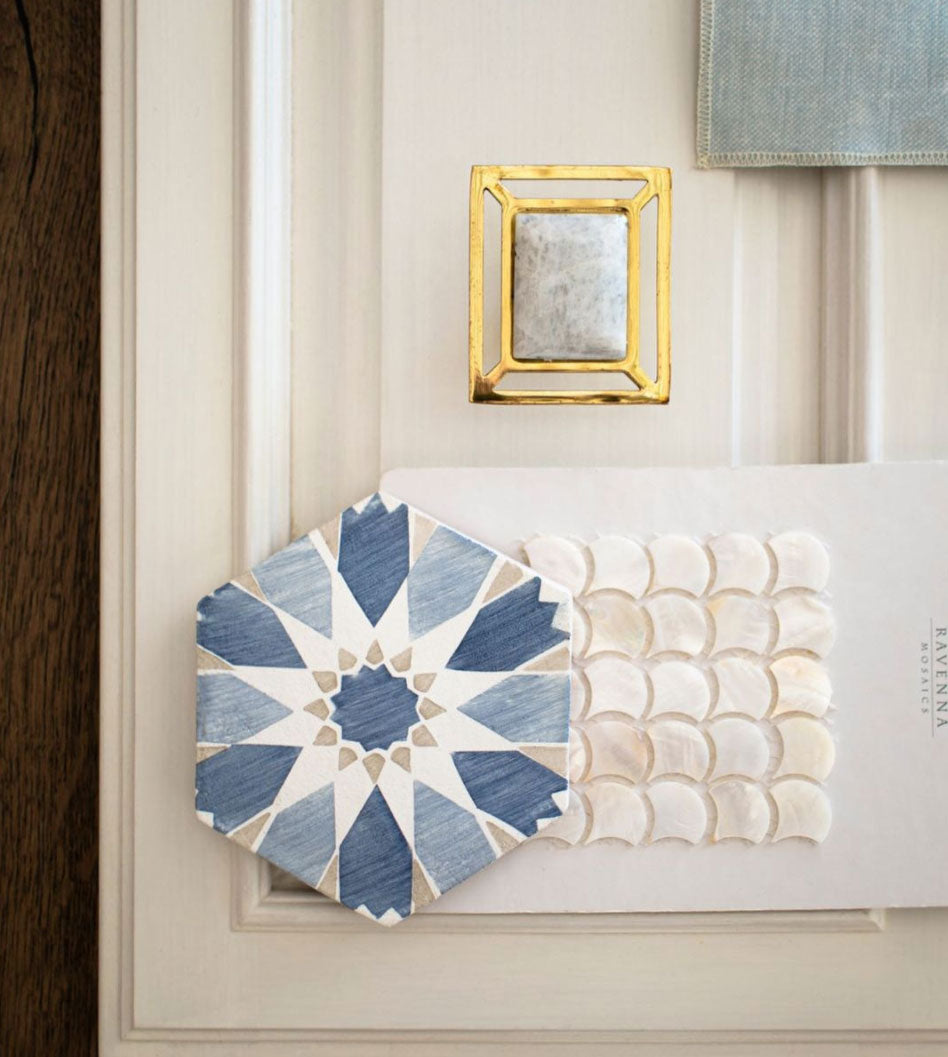 Design Featuring Downing Hardware in Brass with Moonstone