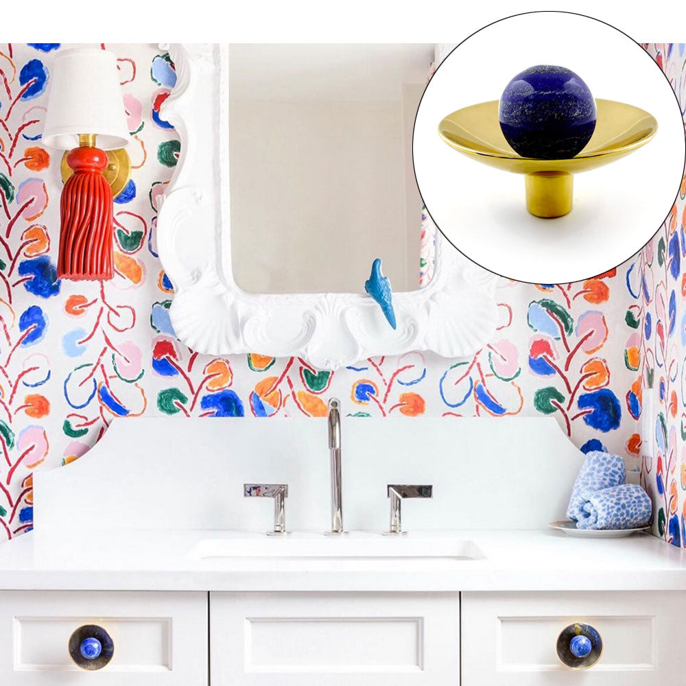 Colorful Powder Room with Gibson Hardware in Brass with Lapis