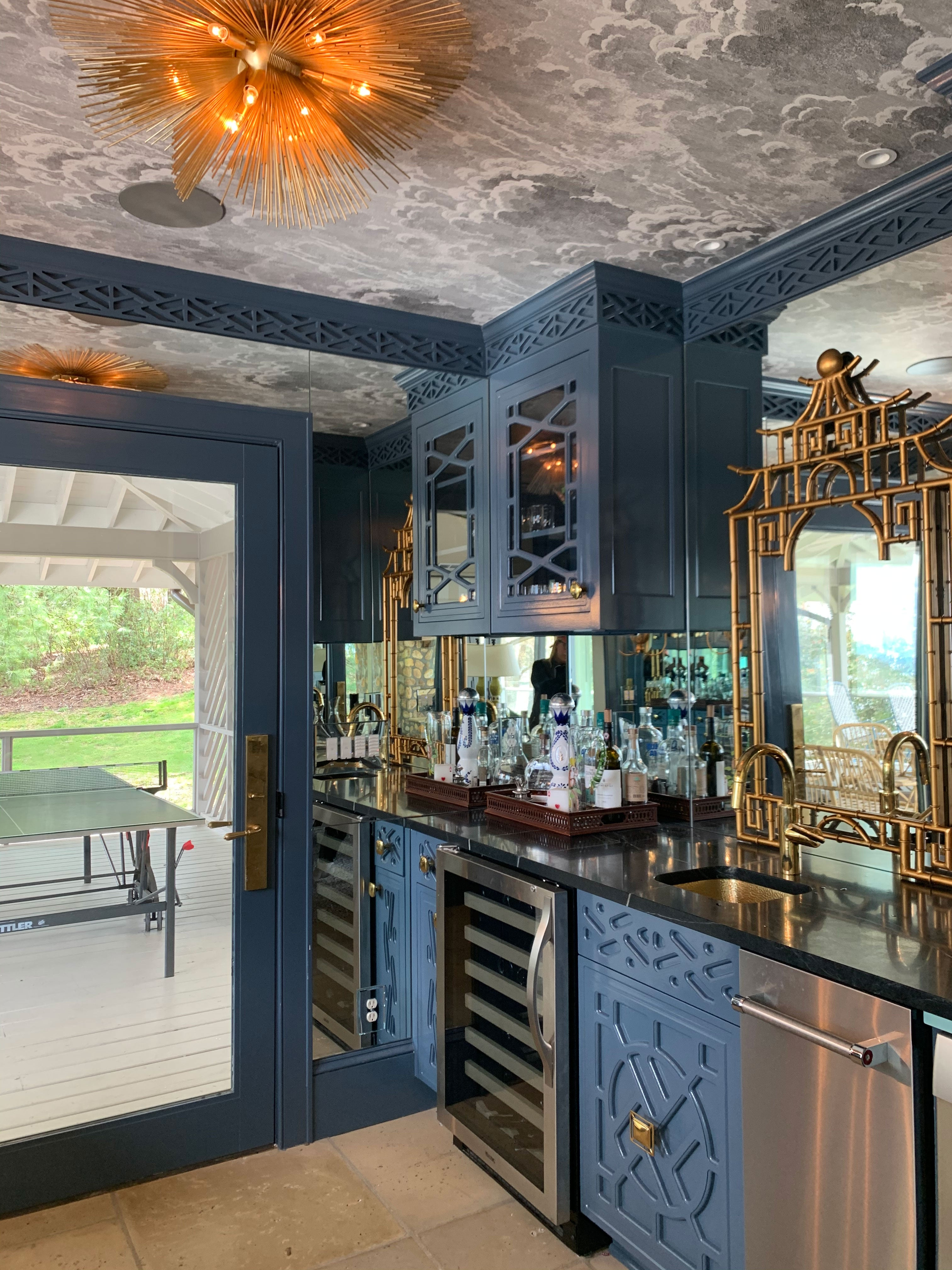 Bar Design with Downing Brass Hardware - Square Knob