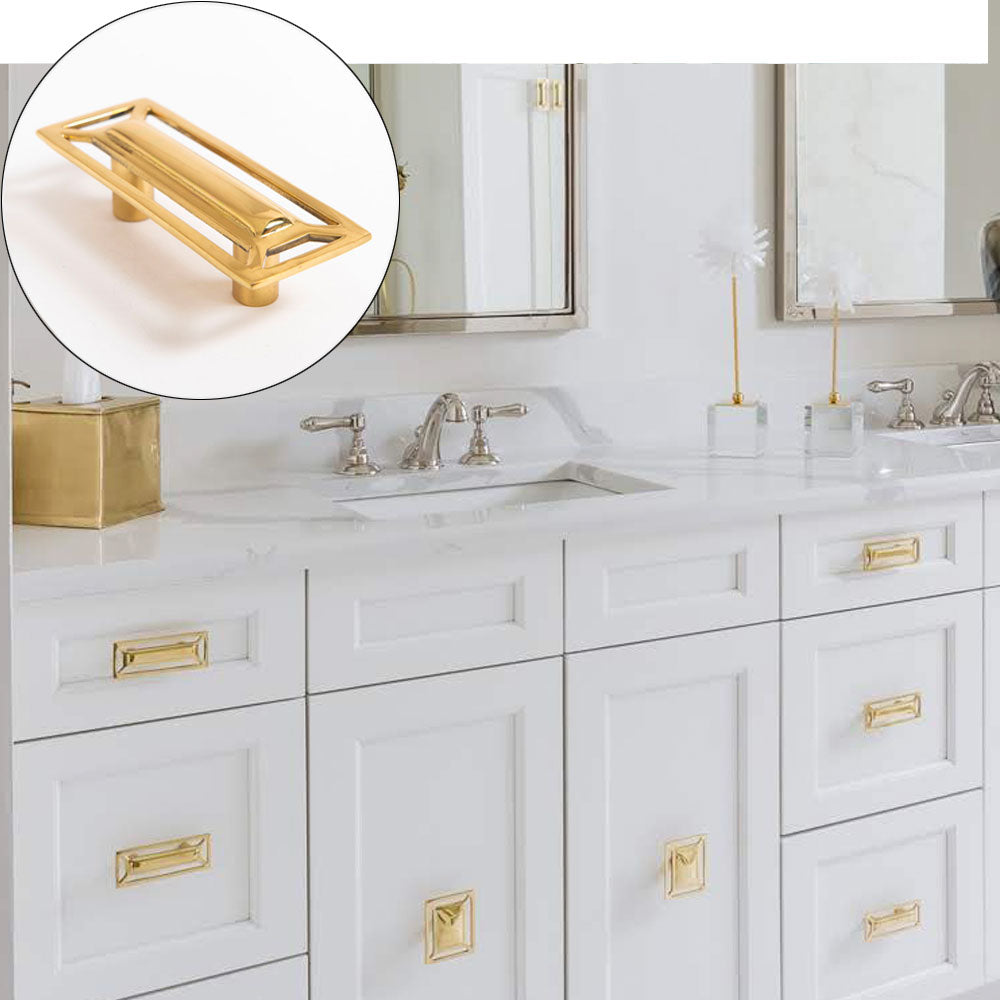 White Vanity with McCoy Hardware in Brass