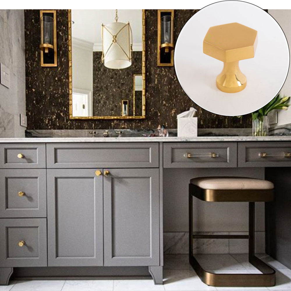 Gray Vanity Design with Middleton Hex Knobs & Bar Pulls in Brass and Lucite