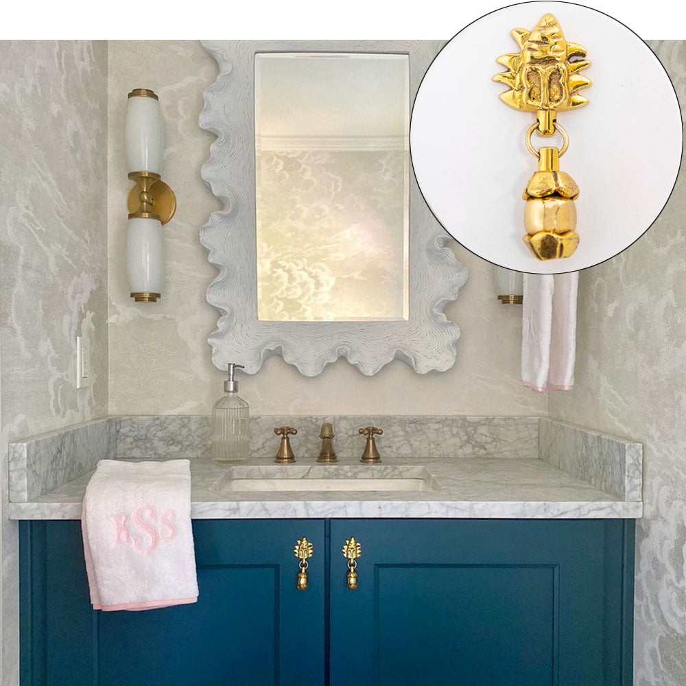 Renovated Powder Room with Mayan Drop Pull in Brass