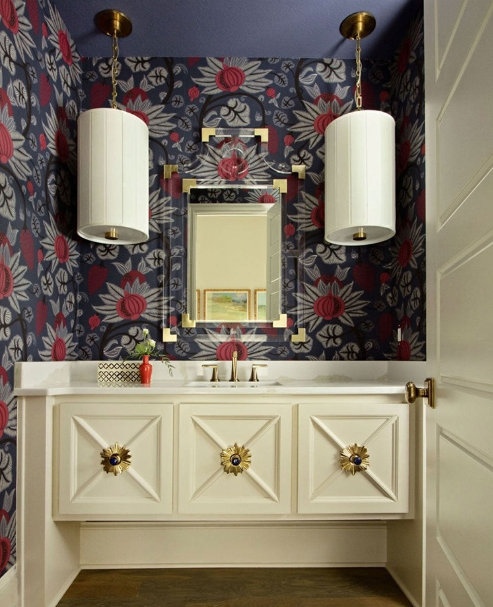 Vanity Design with Starburst Backplate in Brass and Lane Knob in Brass and Labradorite