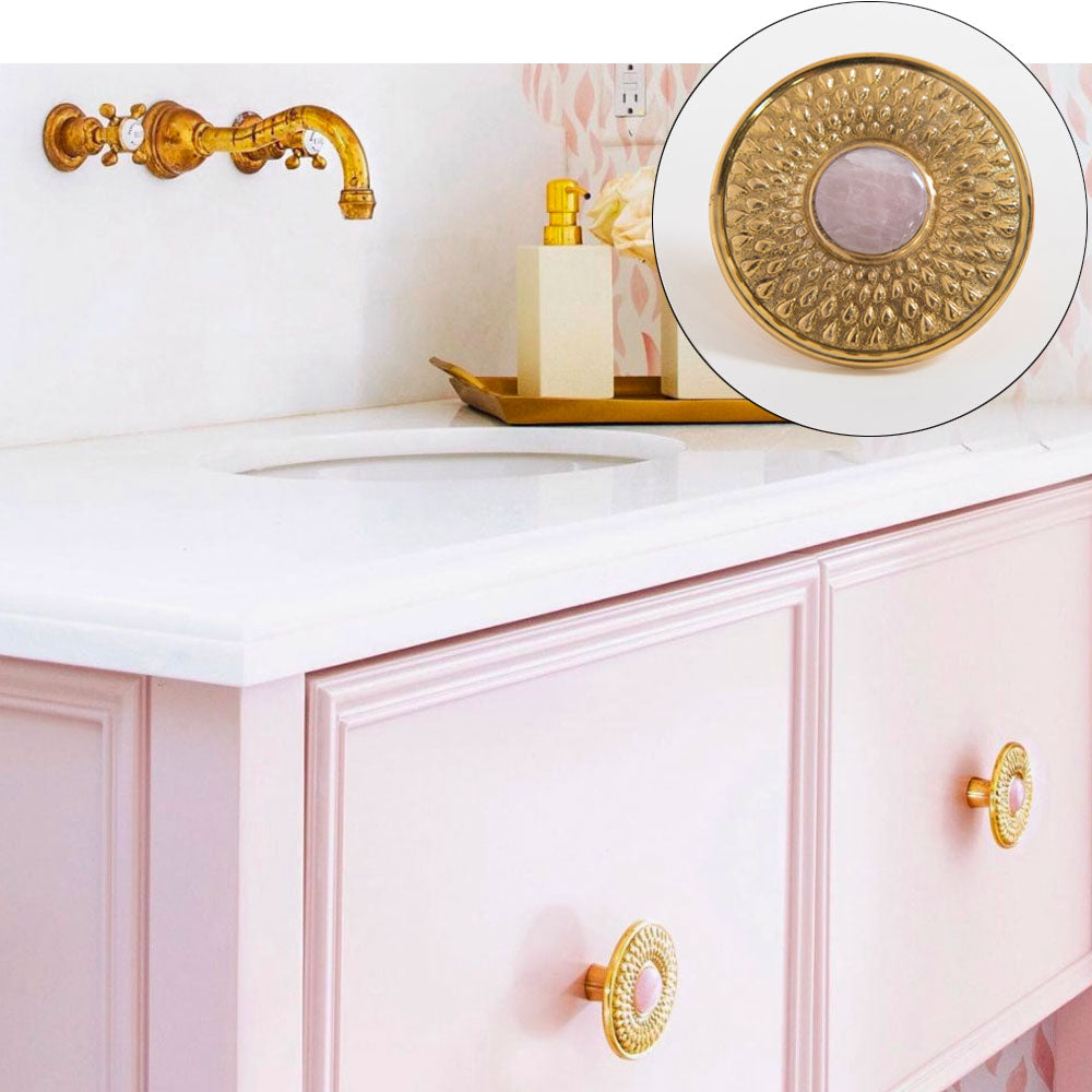 Pink Vanity with Oliver Hardware in Brass with Rose Quartz