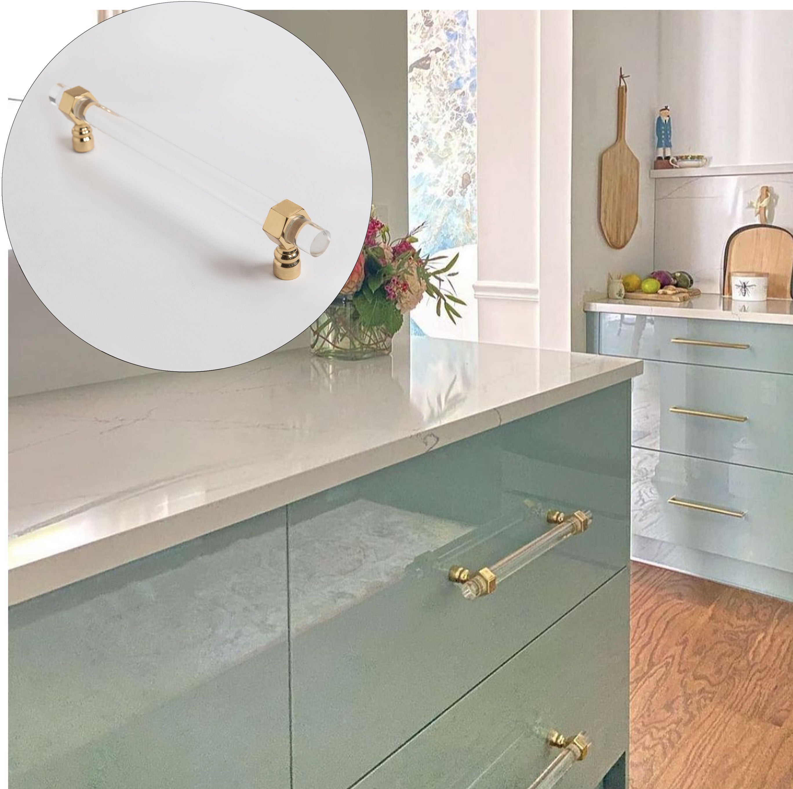Blue Bathroom Design with Benson Knobs in Brass with Moonstone