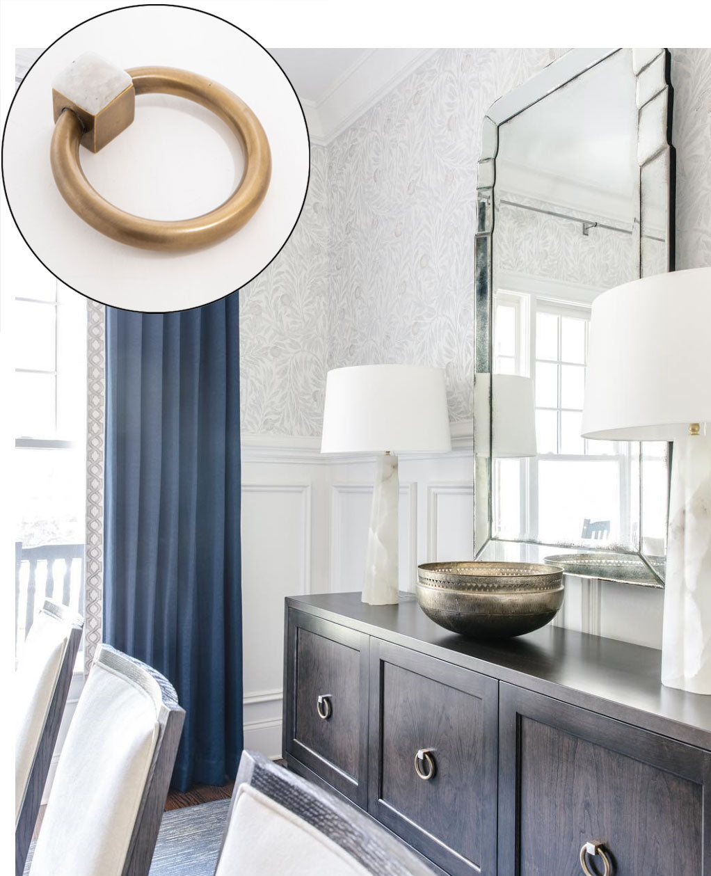 Taupe & Blue Dining Room with Porter Ring Pull in Antique Brass & Moonstone