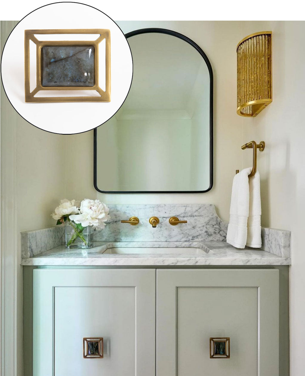 Soft Green Powder Room - Vanity with Downing Knobs in Antique Brass & Labradorite