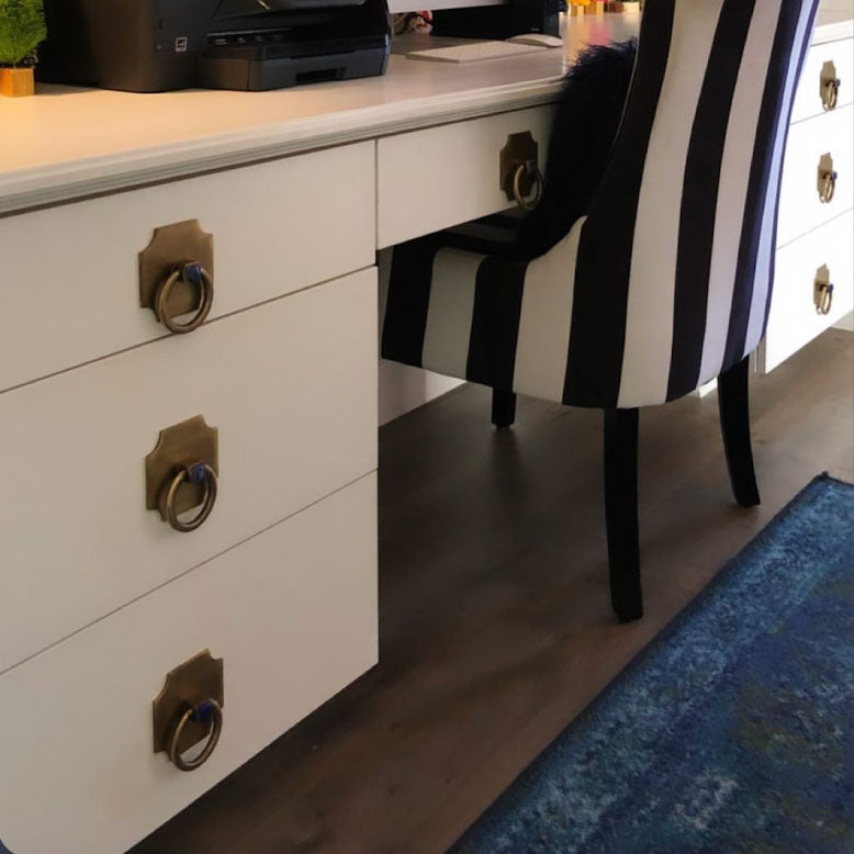 Desk Design with Bossard Backplate in Antique Brass and Porter Ring Pull with Labradorite