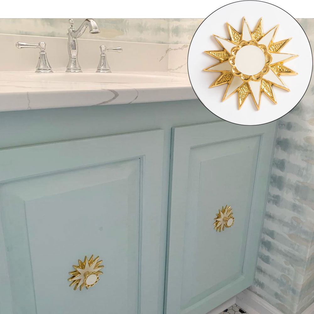 Powder Blue Vanity with Star Backplates in Brass with Cream Enamel