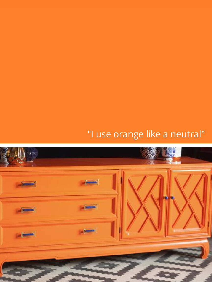 Orange Dresser with McCoy Pulls in Brass and Lapis