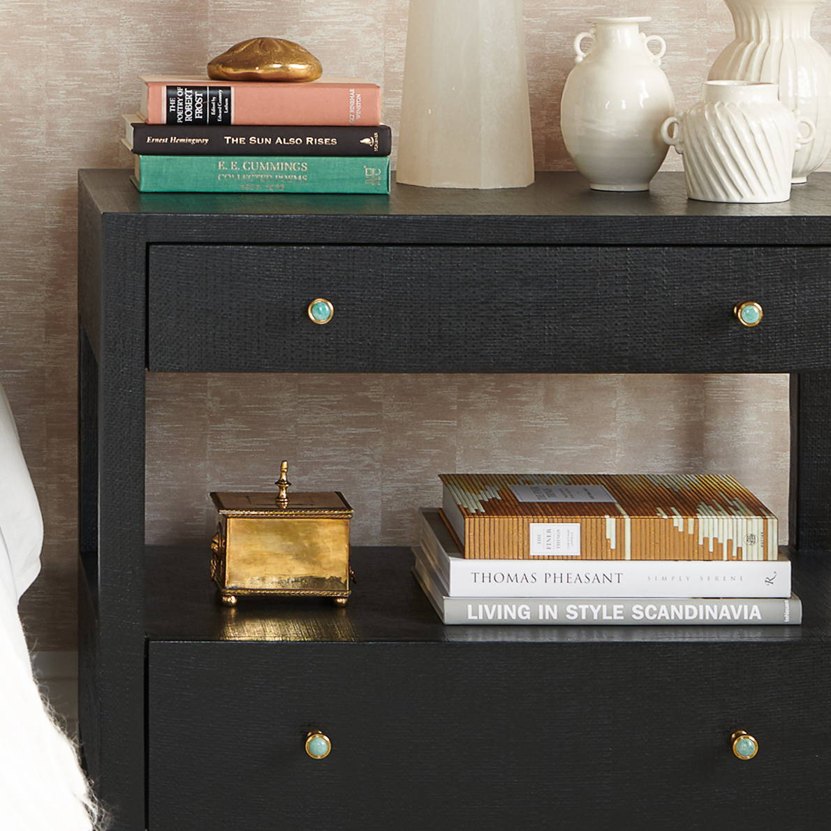 Side Table Design with Small Lane Pulls in Brass with Amazonite