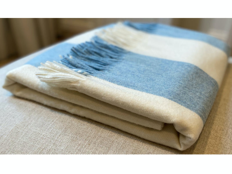 Issy Granger blue striped Merino Lambswool Throw