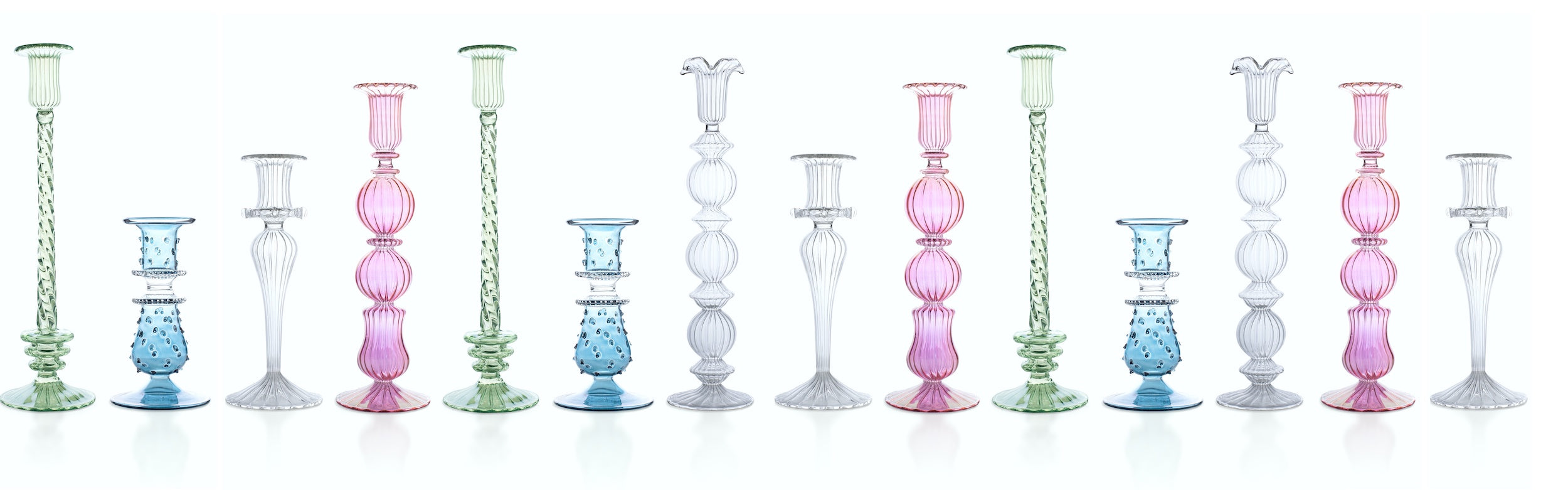 Issy Granger Glass Candlesticks Candle Holders