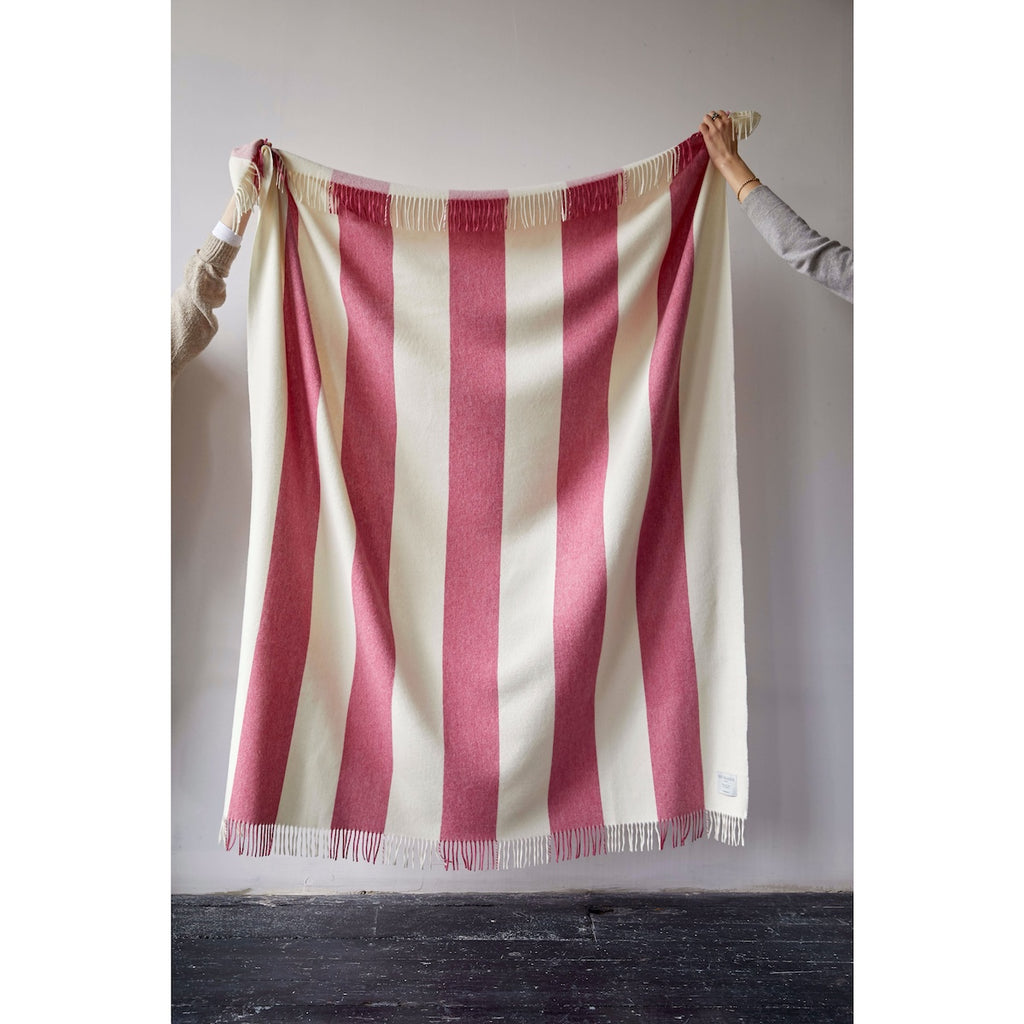 Issy Granger Pink Striped Merino Wool Throw Blanket  Edit alt text