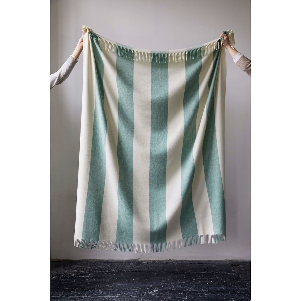 Issy Granger Green Striped Merino Wool Throw Blanket  Edit alt text