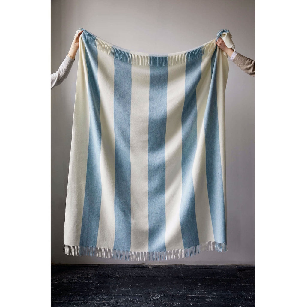 Issy Granger Merino Lambswool Throw, Blue striped throw. Blue stripe blanket  Edit alt text