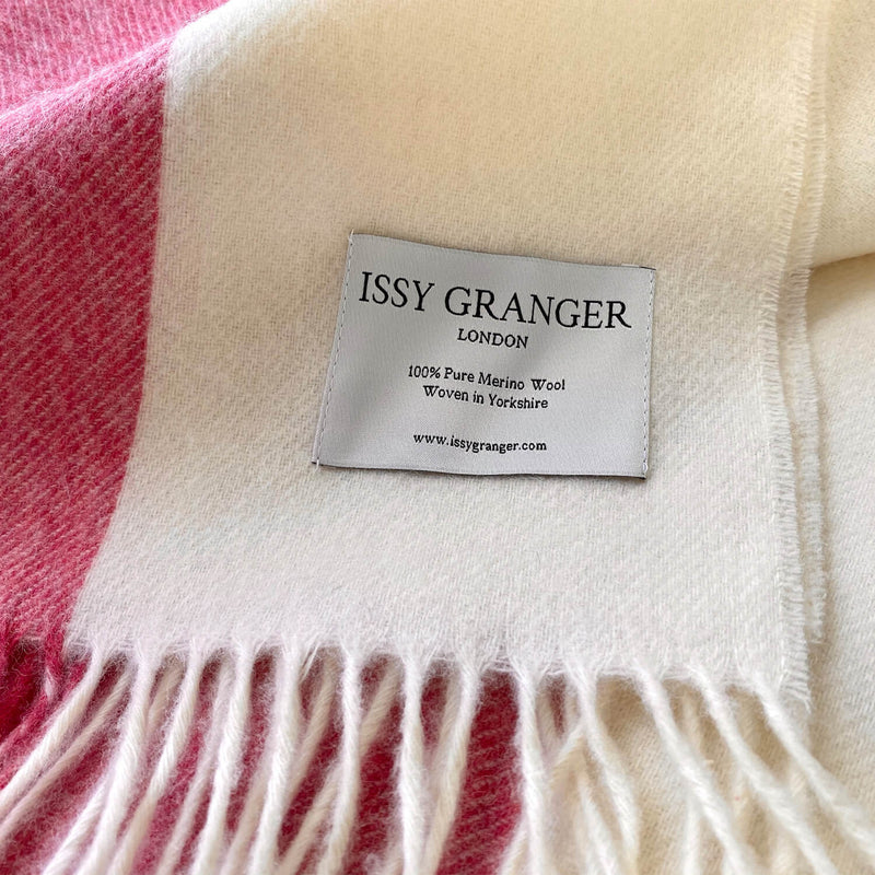Issy Granger Pink Striped Merino Wool Throw Blanket