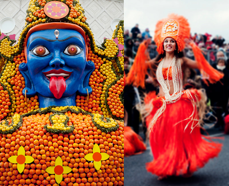 The lively and colourful parade of the Menton lemon festival on the French Riviera